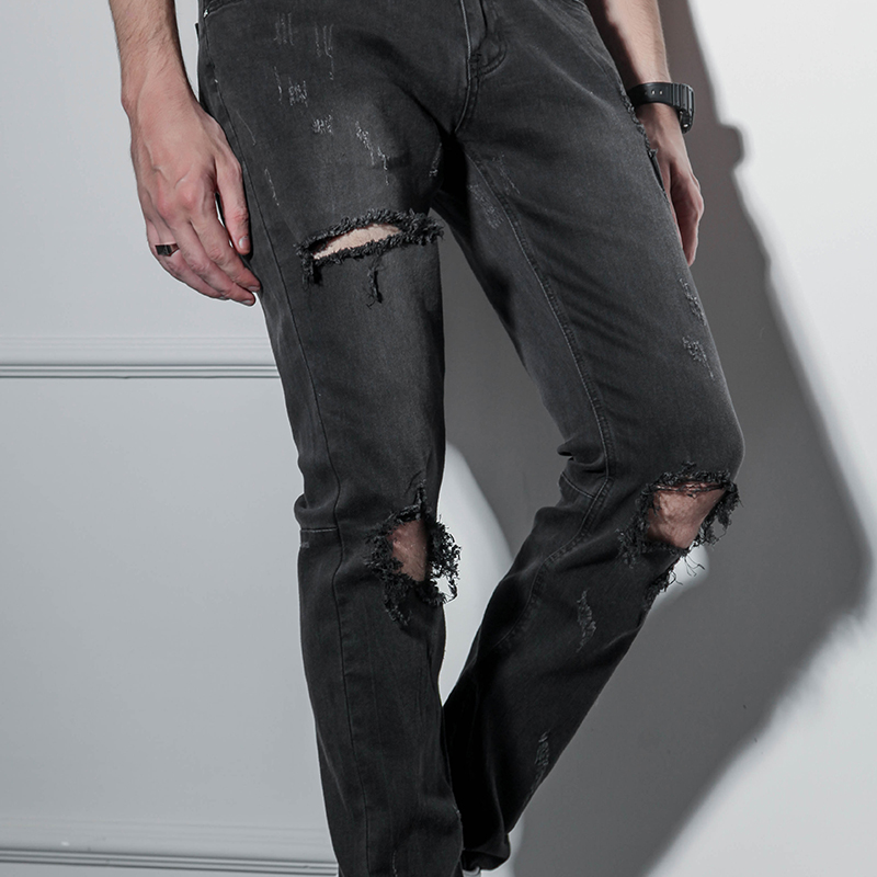 Pants with Zipper at the bottom, holes in the knees, Jeans hip-hop hip-hop men's high street chic pants, baggy pants