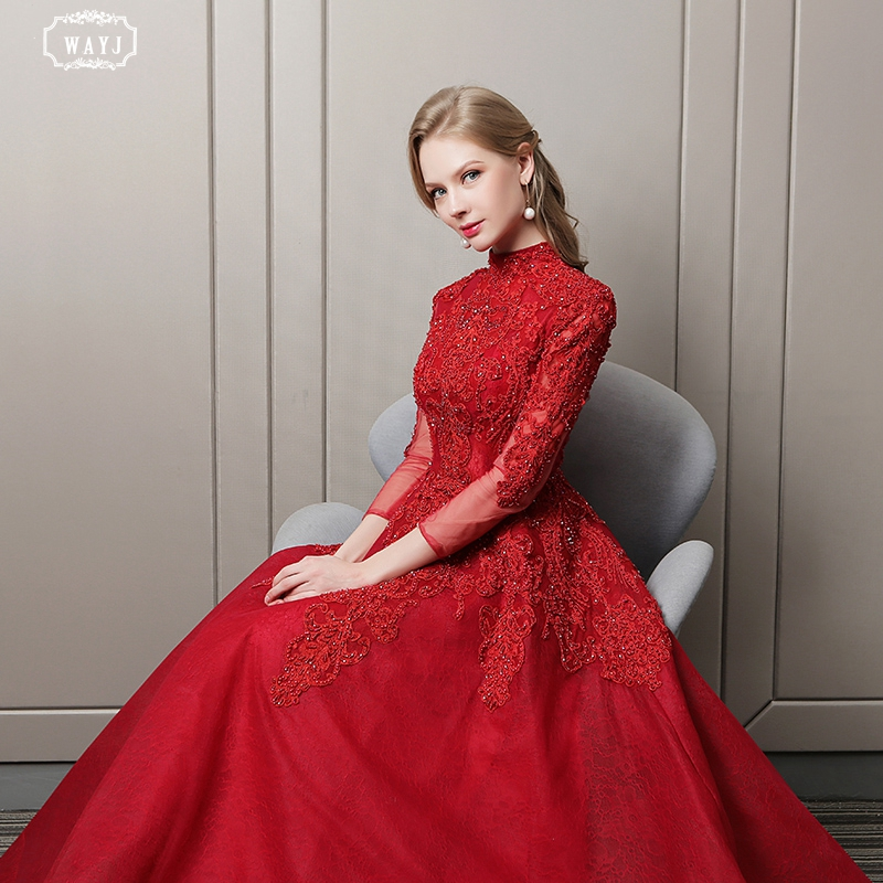 WAYJ New Wine Red Evening Dress Bride Long Sleeve Lace Fabric Hand Decal Beading Fashion Queen Elegant Evening Gown High Quality