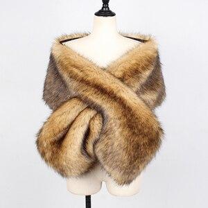 Image 5 - Fashion New Women Autumn Winter Faux Fur Bridal Shawl Scarve & Wraps Warm Ladies Sexy Plush Scarf For Wedding Party Wedding Cape