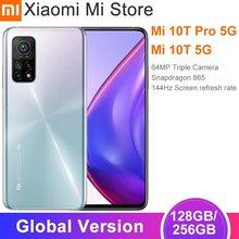 Versão global xiaomi mi 10t/10t pro smartphone snapdragon 865 octa núcleo 144hz 64mp/108mp câmera traseira 6.67