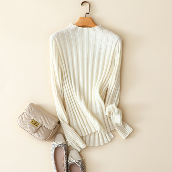 2020 Autumn and Winter Womens Stripe 100% Cashmere Sweater Lazy Solid  Office Lady Women Clothes Korean Fashion