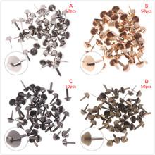 50pcs lot 12mm Metal Crafts Purse Feet Rivets Studs Pierced For Purse Handbag Punk Rock Rivets Bag Leather DIY Accessories cheap LAKEBAO R001