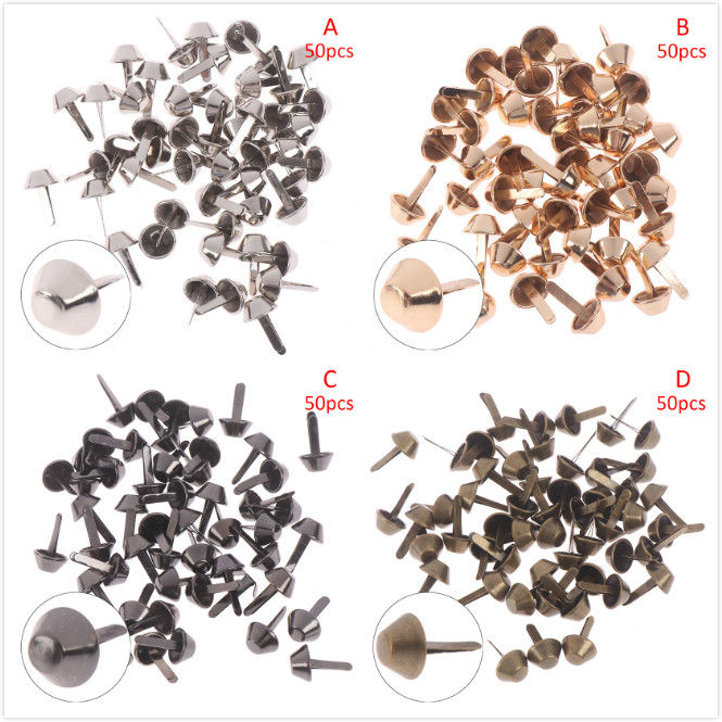 50pcs/lot 12mm Metal Crafts Purse Feet Rivets Studs Pierced For Purse Handbag Punk Rock Rivets Bag Leather DIY Accessories