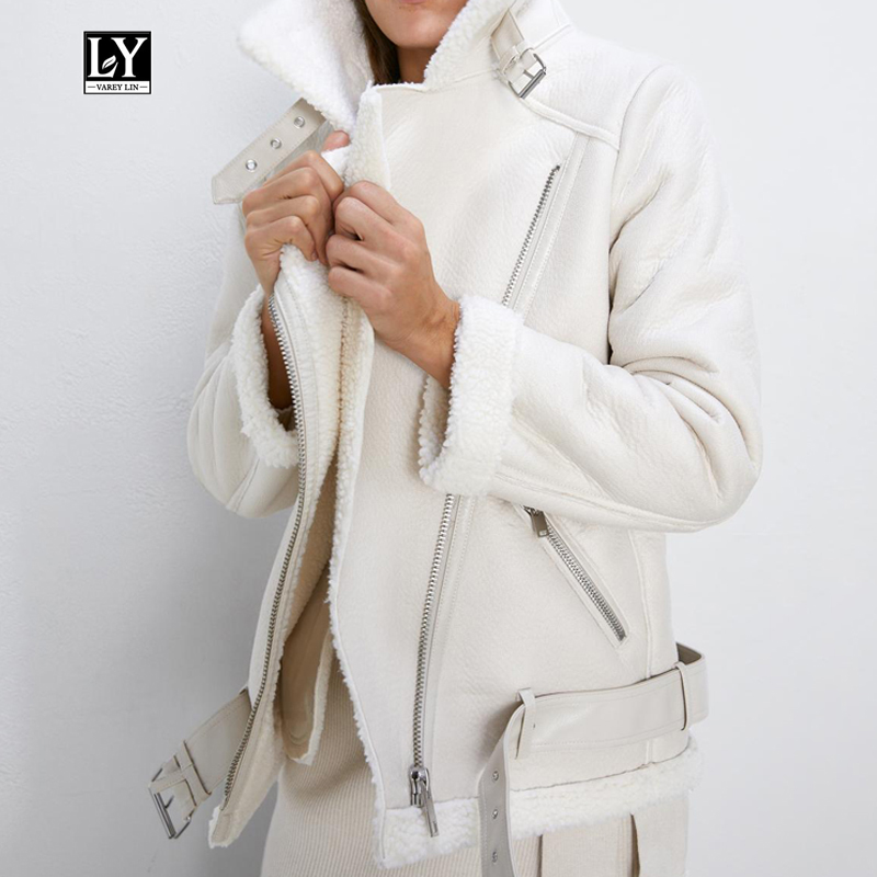 Ly Varey Lin Winter Faux Lamb Leather Jacket Women Faux Leather Lambs Wool Fur Collar Pu Moto Zipper Jacket Warm Thick Outerwear|Leather Jackets| - AliExpress