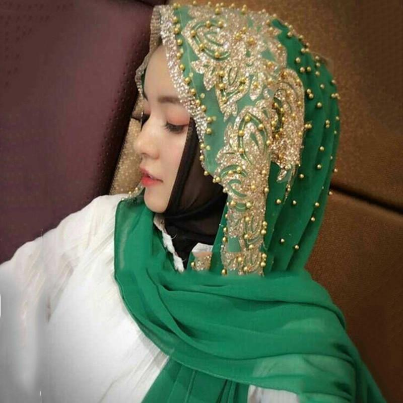 Conception de luxe musulman perles dentelle mariage hijab écharpe islamique en mousseline de soie châles enveloppes dames perle foulard foulard femme musulman