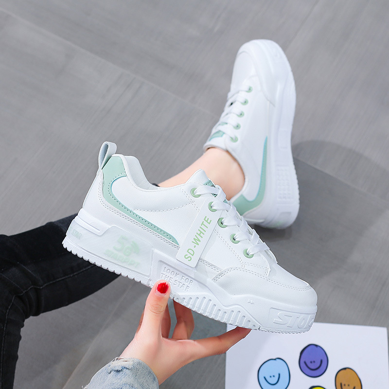 2021 new thick sole small white shoes women's shoes versatile board shoes fashionable leisure sports shoes