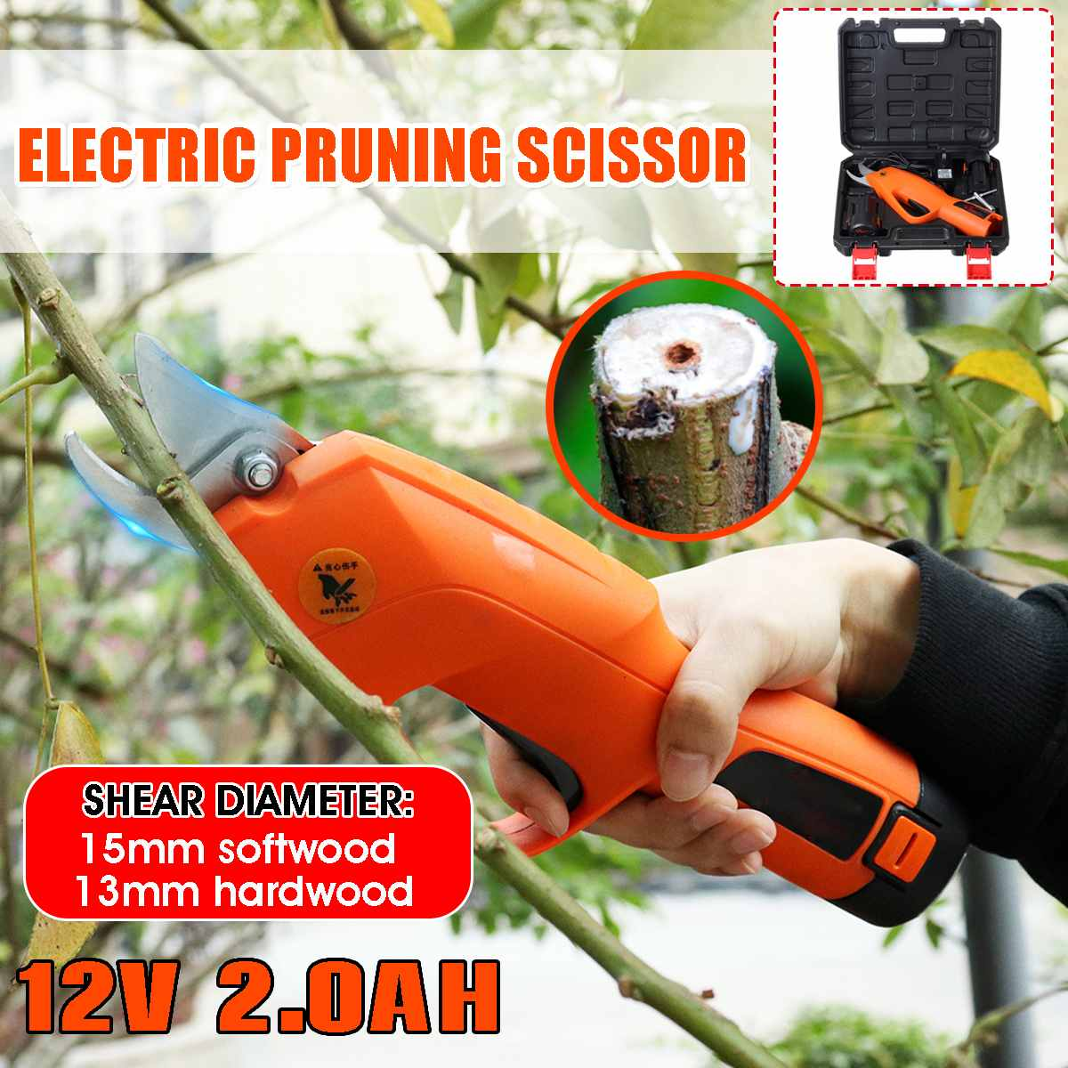 12V 2.0AH Wireless Electric Rechargeable Scissors Pruning Scissor Branch Cutter 30mm Shears Tree Garden Tool With Li-ion Battery