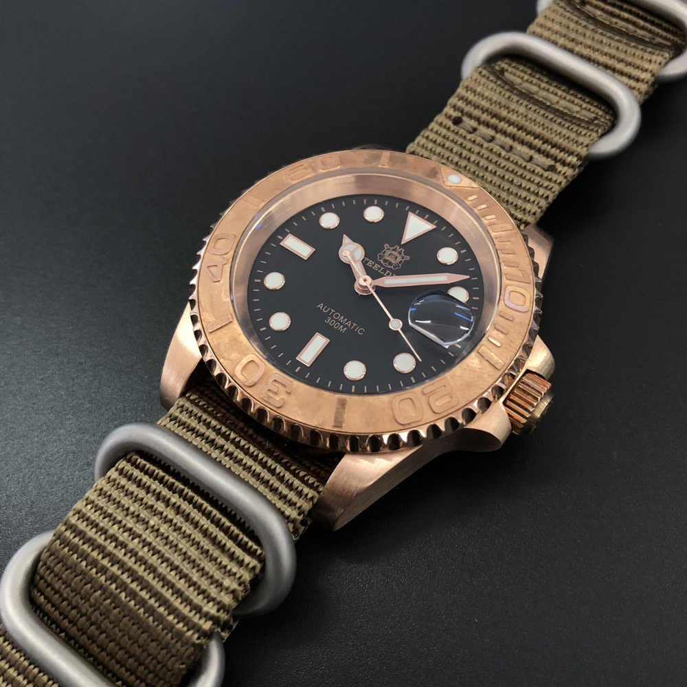 STEELDIVE 1953S Germany CuSn8 Bronze NH35 Mechanical Men's Watches Silicone NATO Nylon Bronze watch Automatic Watch Dive 200m(China)