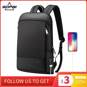 Image 1 - BOPAI Super Slim Laptop Backpack USB Charging Port Men Anti Theft Back Pack Waterproof College Backpacking Updated Version