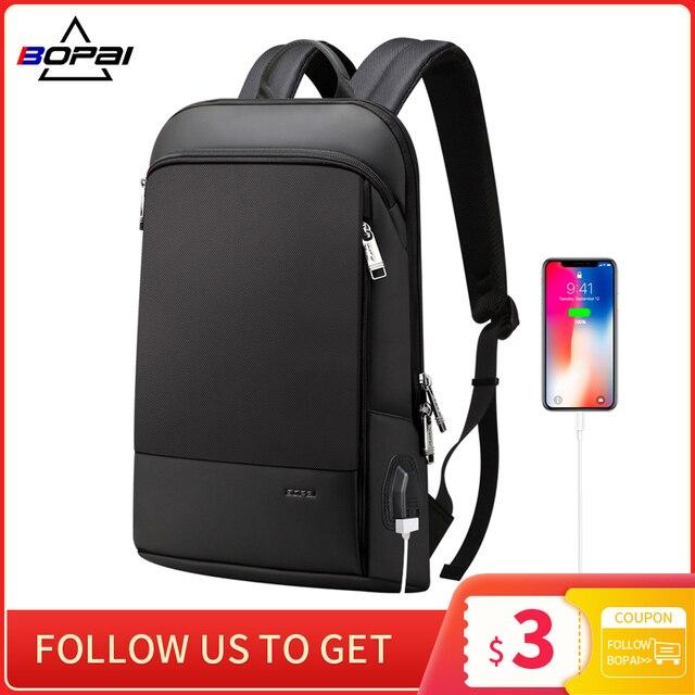 BOPAI Super Slim Laptop Backpack USB Charging Port Men Anti Theft Back Pack Waterproof College Backpacking Updated Version