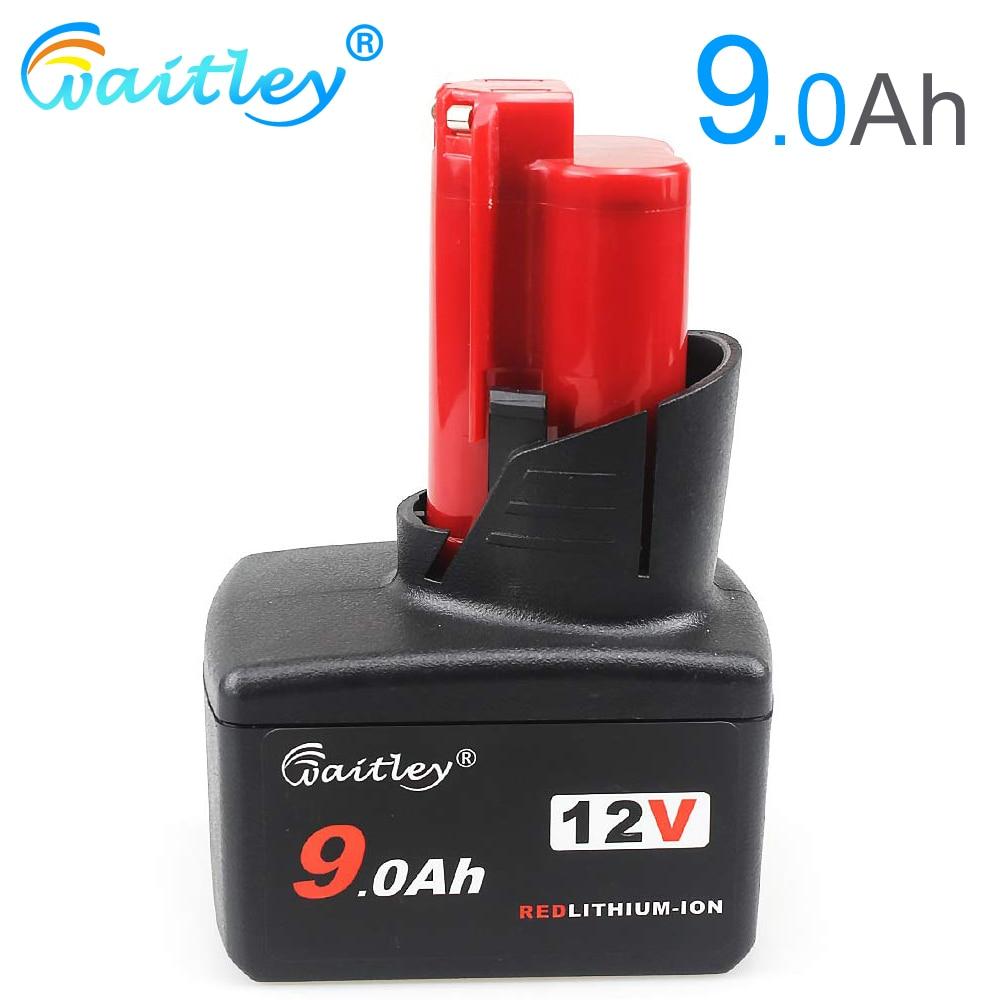 Bateria m12 da substituição do lítio-íon de waitley 12 v 9.0ah 9000 mah para a ferramenta eléctrica xc 48-11-2411 48-11-2420 12 v das baterias de milwaukee