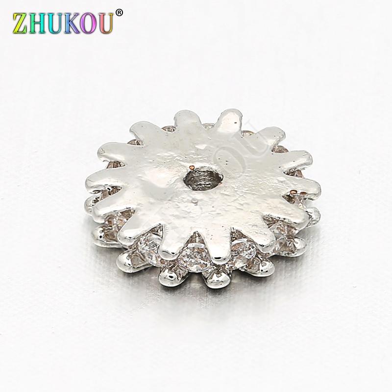 Suministros para la fabricación de joyas, espaciador de circonia cúbica, cuentas de tope para DIY, accesorios de joyería, agujero: 1mm, modelo: VZ130, 8mm