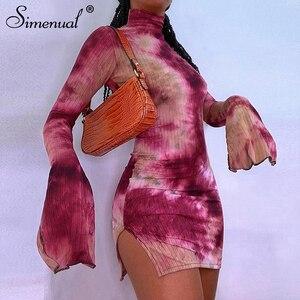 Simenual Tie Dye Mock Neck sukienki bandażowe typu Bodycon dla kobiet boczne rozcięcie prążkowane z długim rękawem Clubwear Midnight strój Mini sukienka na imprezę Hot