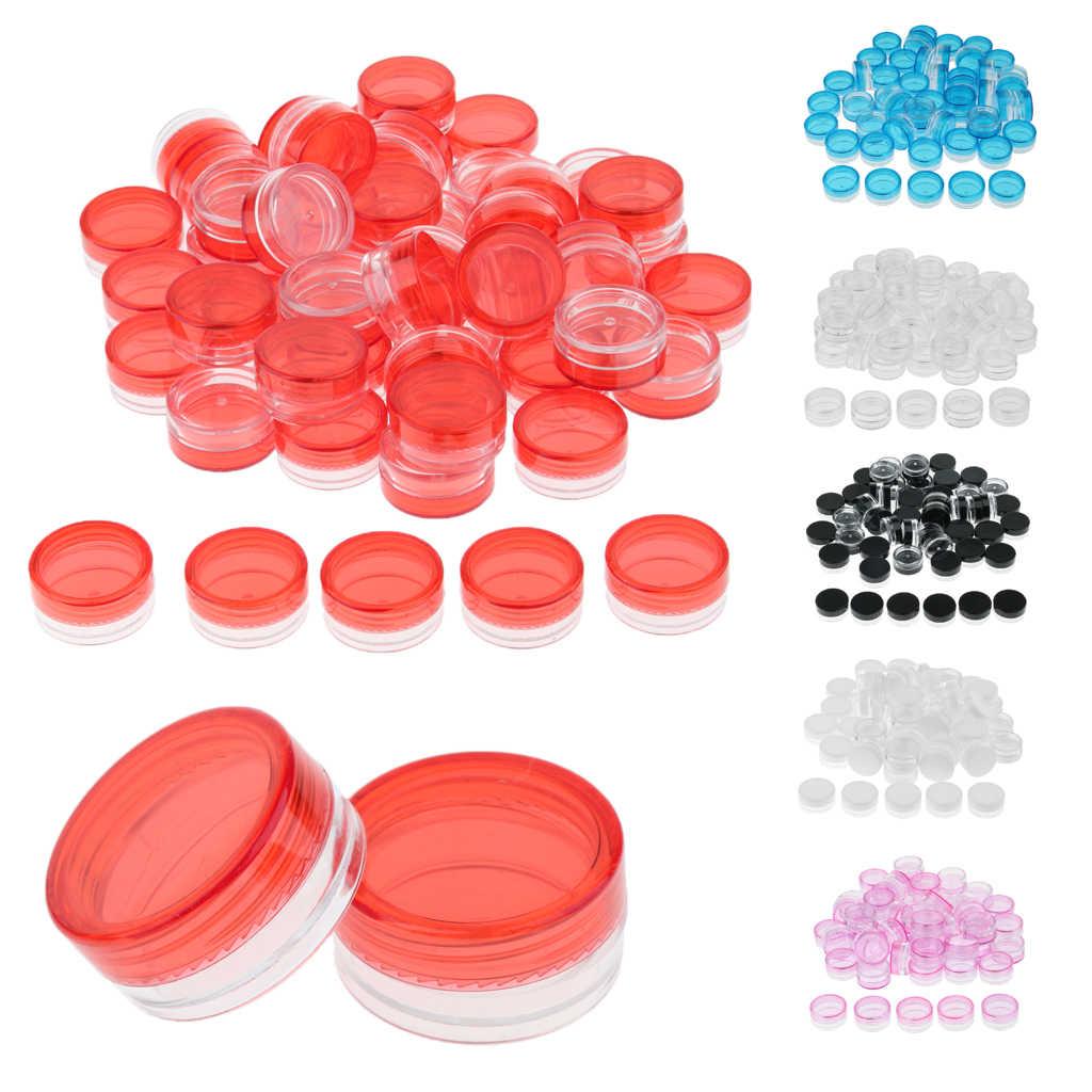 50Pcs 3G Bulat Kosmetik Botol Lotion Krim Balsem Pot dengan Sekrup Tutup untuk Bibir Makeup Wadah Kosmetik Manik-manik perhiasan Penyimpanan Case