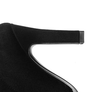 Image 5 - QUTAA 2020 kadın diz üzerinde yüksek çizmeler kış üzerinde kayma ayakkabı ince yüksek topuk sivri burun tüm kadınlar için çizmeler boyutu 34 43