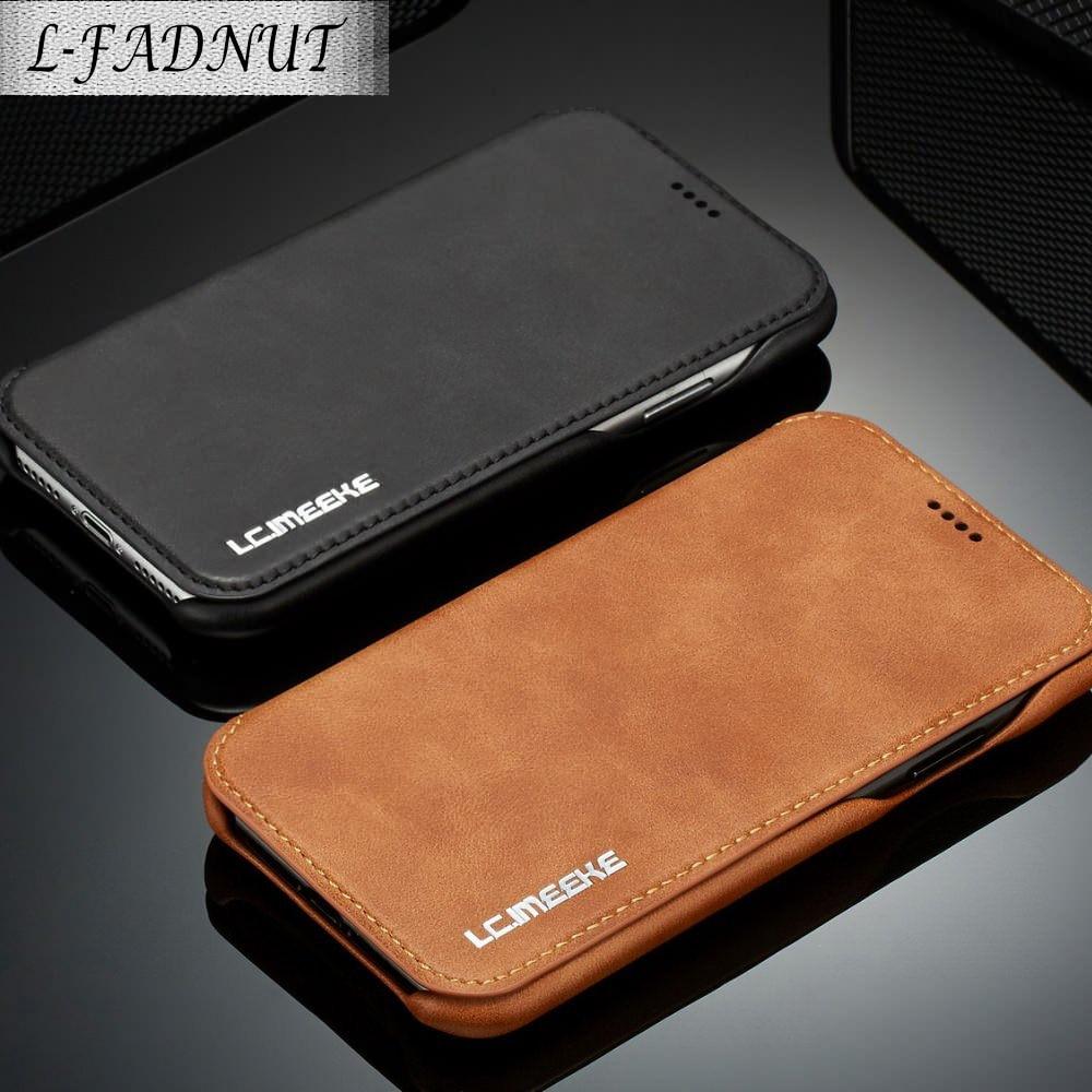 L-FADNUT negócios vintage carteira caso para iphone xr x xs 11 pro max luxo flip capa de couro para iphone 7 8 6 s 6 plus capa