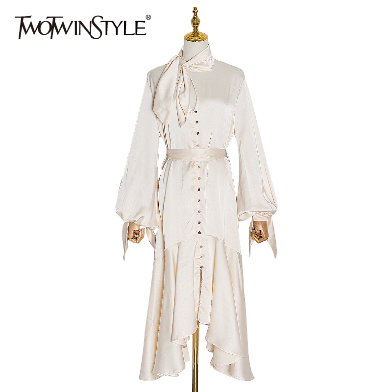 TWOTWINSTYLE Asymmetrical Lace Up Dress Female Stand Collar Flare Sleeve High Waist Hollow Out Midi Dress Women 2020 Fashion New