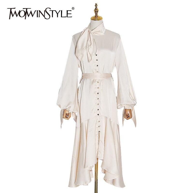 TWOTWINSTYLE-vestido con cordón asimétrico para mujer, vestido Midi con cuello levantado, manga acampanada, cintura alta, calado, 2020