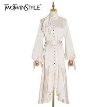 Платье миди на шнуровке twotwinstyle асимметричное платье с