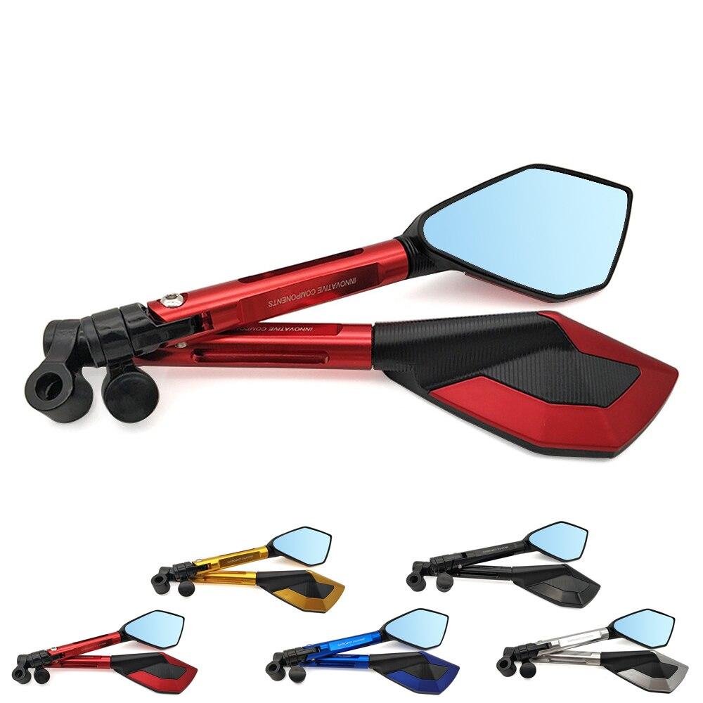 Universal Motorcycle Mirrors Blue Glass Anti-vertigo Moto Accessories CNC Rearview Side Mirrors Mounting Tool Bolts 8mm 10mm