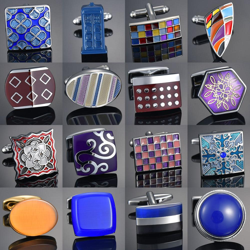 Novelty Luxury Blue/Brown/Red/Purple Cufflinks For Mens Brand Quality Crown Crystal Gold Silver Cufflinks Shirt Cuff Links