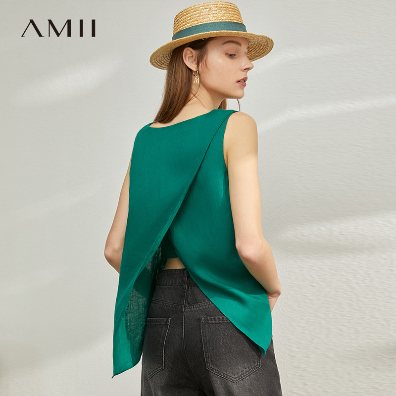 AMII Minimalism Spring Summer Chiffon Loose Women Vest Blouse Tops Causal Oneck Sleeveless Solid Female Blouse 12070250