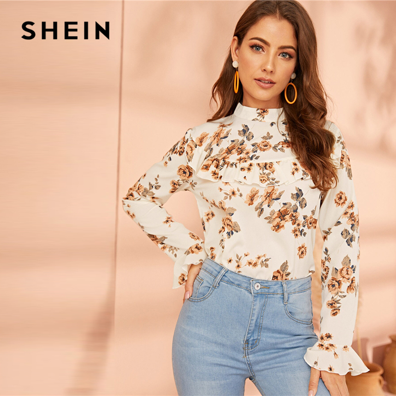 SHEIN White Stand Collar Floral Print Button Back Blouse Top Women 2019 Autumn Flounce Sleeve Casual Ladies Tops And Blouses