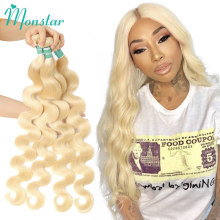 Monstar 1/3/4 613 Blonde Hair Extension Brazilian Hair Weave Bundles Body Wave Remy Human Hair Long 26 28 30 32 34 36 38 40 Inch