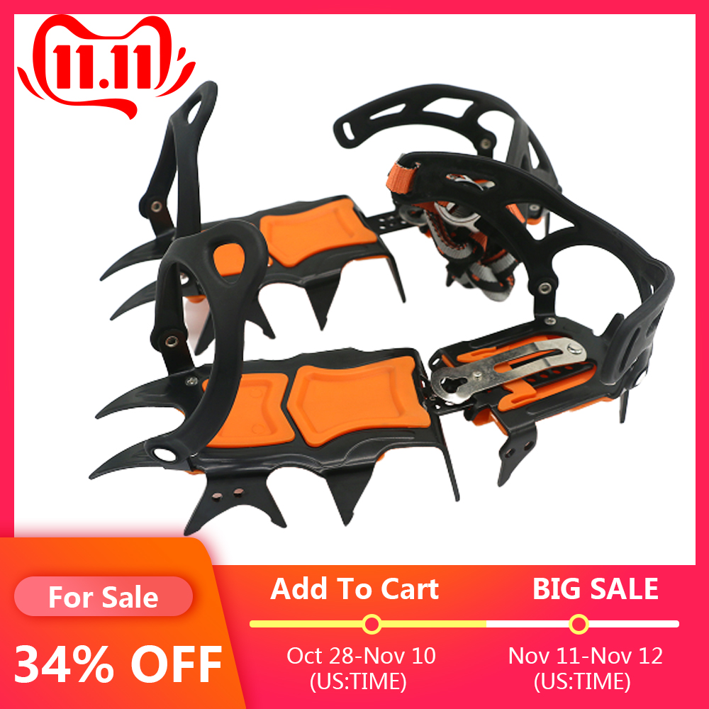 14 Teeth Crampons Manganese Steel Climbing Gear Snow Ice Anti-Skid Climbing Shoe Grippers Crampon Traction Device Mountaineering