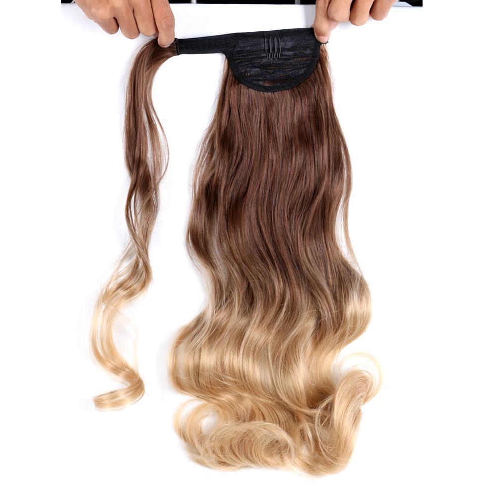 Fake cabelo cauda longa reta falso peças