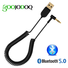 Goojodoq 3.5mm mini usb 2.0 bluetooth v5.0 adaptador receptor ajustável para o orador do carro aux interface alto falante