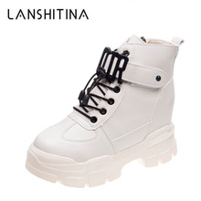 купить 2019 New Winter Platform Boots Women High Top Sneakers Thick Bottom Warm Plush Snow Boots Woman Autumn White Casual Ankle Shoes дешево