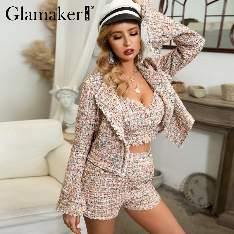 Glamaker Lurex Tweed Short Blazer Coat Women Autumn Three-piece Office Blazer Elegant Winter Flare Sleeve Sexy Jacket Outwear