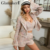 Glamaker Lurex tweed short blazer coat Women autumn three piece office blazer Elegant winter flare sleeve sexy jacket outwear