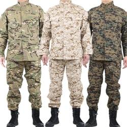 Mens Military Uniform Tactical Clothing Combat Shirt Camouflage Army Militar Soldier Special Forces Coat+Pant Set Maxi XS-2XL