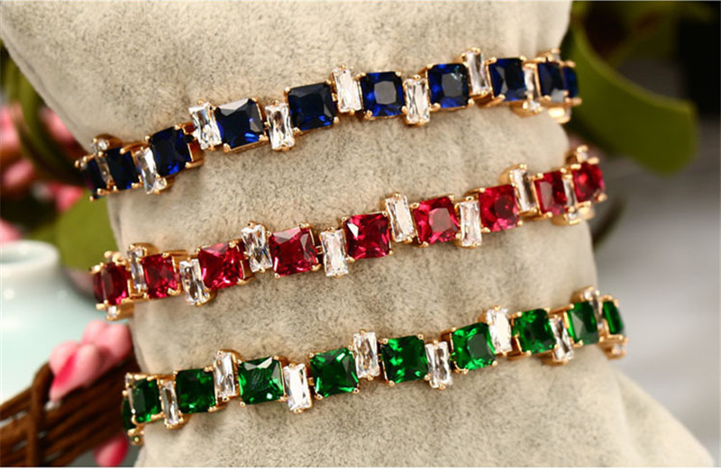 Shiny Zircon Green Square Bracelets For Girls Bride Wedding Jewelry Fashion Gold Accessories Bracelet Women Christmas Gift in Charm Bracelets from Jewelry Accessories