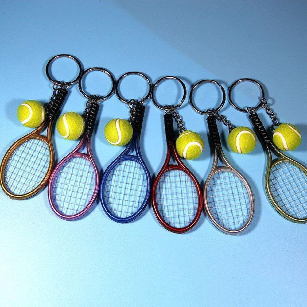 6 Color Fashion Mini Tennis Racket Pendant Keychain Keyring Key Chain Ring Finder Holer Accessories For Lover's Day Gifts