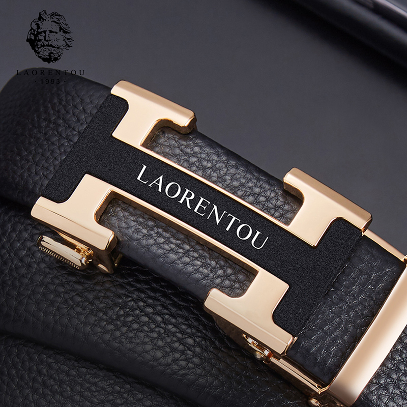 "LAORENTOU Men's Split Leather Belts Male Gentleman High Quality Belt Replacement Belts with Buckle 20"" to 44"" inch Adjustable"