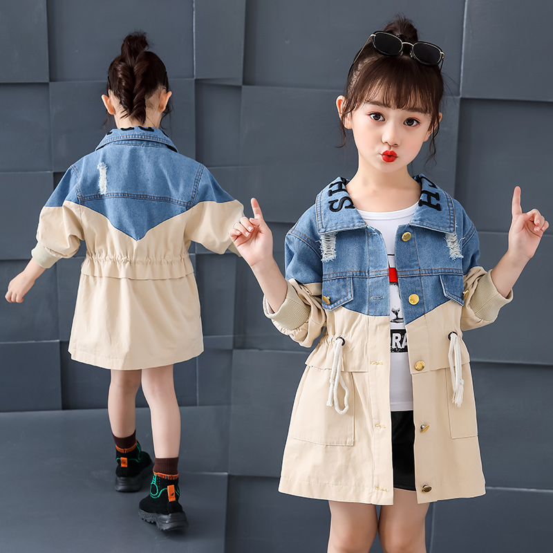Girls denim Jackets Fashion loose cozy Denim Coats Kids canvas stitching trench For Girl Long Windbreake Outerwear