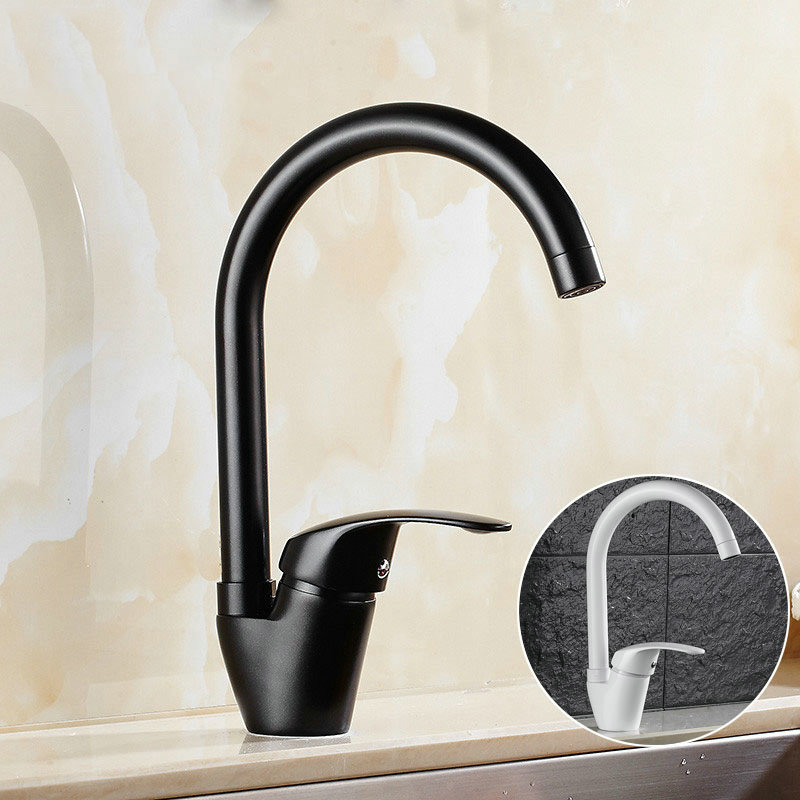 Modern Style Deck Mounted Kitchen Faucet Copper Basin Sink Tap Cold And Hot Mixer Water Tap Single Handle Curved Outlet Pipe Tap