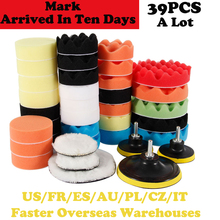 39 pçs almofadas de lã enceramento polimento almofada de polimento roda carro pintura automática cuidados polidor almofada barco broca roda polimento remove arranhões