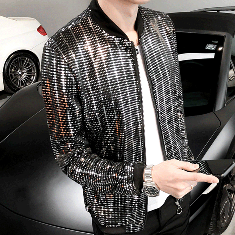 Shiny Mens Sequins Slim Fit Zip Up Long Sleeve Nightclub Singer Jacket Coat NEW