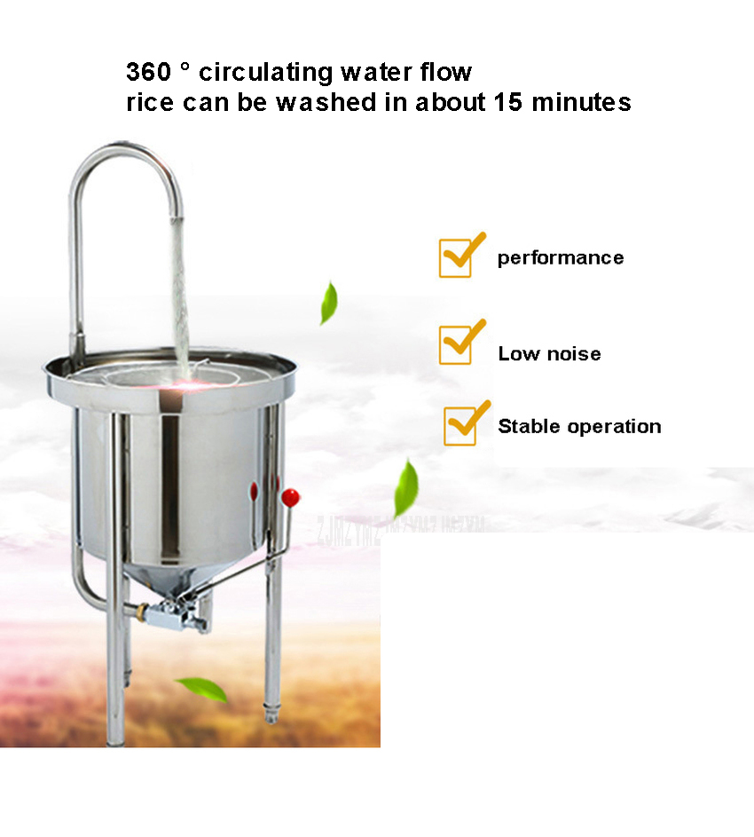 25kg Washing Capacity Automatic Stainless Steel Rice Washing Machine Commercial Large Water Pressure Rice Washer For Restaurant 2