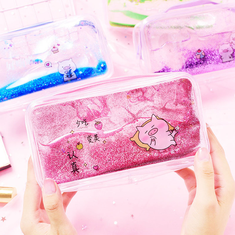 Creative Unicorn Quicksand Pencil Case Pencil Bag Students Cool Stationery Bag Gorgeous Stationery Box School Pencil Case