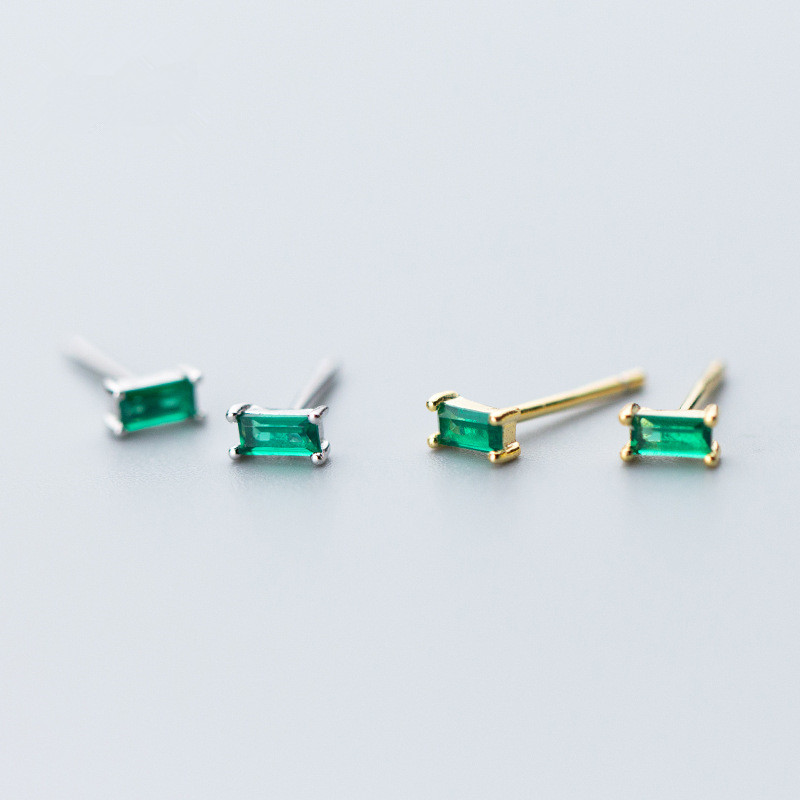 Minimalist Stud Earrings For Women party Geometric Square Green Zircon 925 Sterling Silver Fine Jewelry Pendientes eh1097