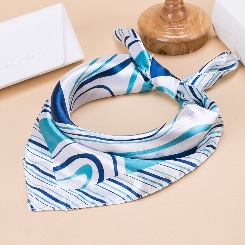 Fashion Square Women Girl Elegant Flight Attendants Hotel Waiter Business Imitate Silk Scarf Printing Korean Style Gift 50*50cm