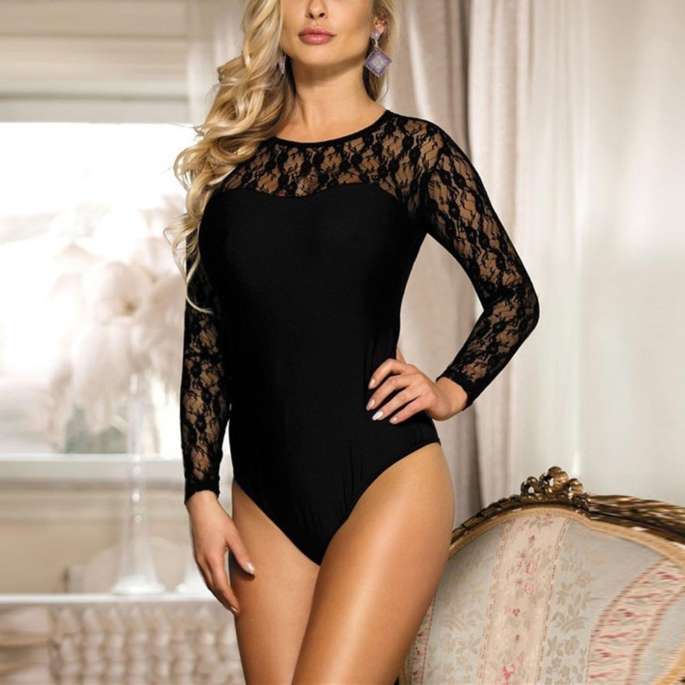 Autumn Women Lingerie One Piece Bodysuit Fashion Mesh Leotard Long Sleeve Bottoming Shining Romper Bodis De Mujer 2019 New Hot E