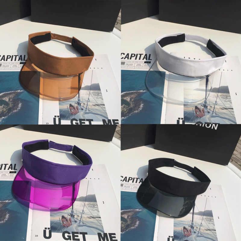 شفافة قناع قبعات للحماية من الشمس للجنسين قابل للتعديل عقال كاب الشمس الأشعة فوق البنفسجية حماية القبعات المرأة أغطية بلاستيكية ل في الهواء الطلق الدراجات