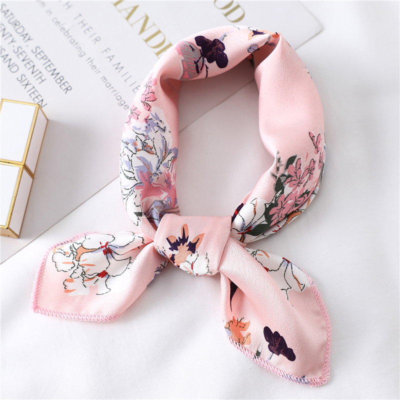 2020 Fashion Women Silk Scarf Print Office Square Neck Scarfs Lady Foulard Hair Band Femme Bandana Hand Kerchief Scarves
