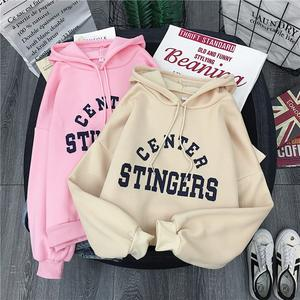 Hooded Sweatshirt Letter Streetwear Printed Ladies Pullover Moletom Long-Sleeve Autumn